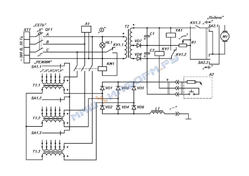 принцыпиальная схема сварочного полуавтомата Кайзер 305
