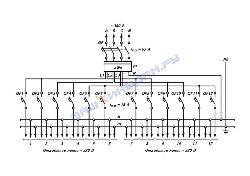 Схема автоматического выключателя на чертеже